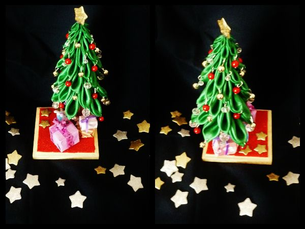 christmas tree with red gold and crystal ball