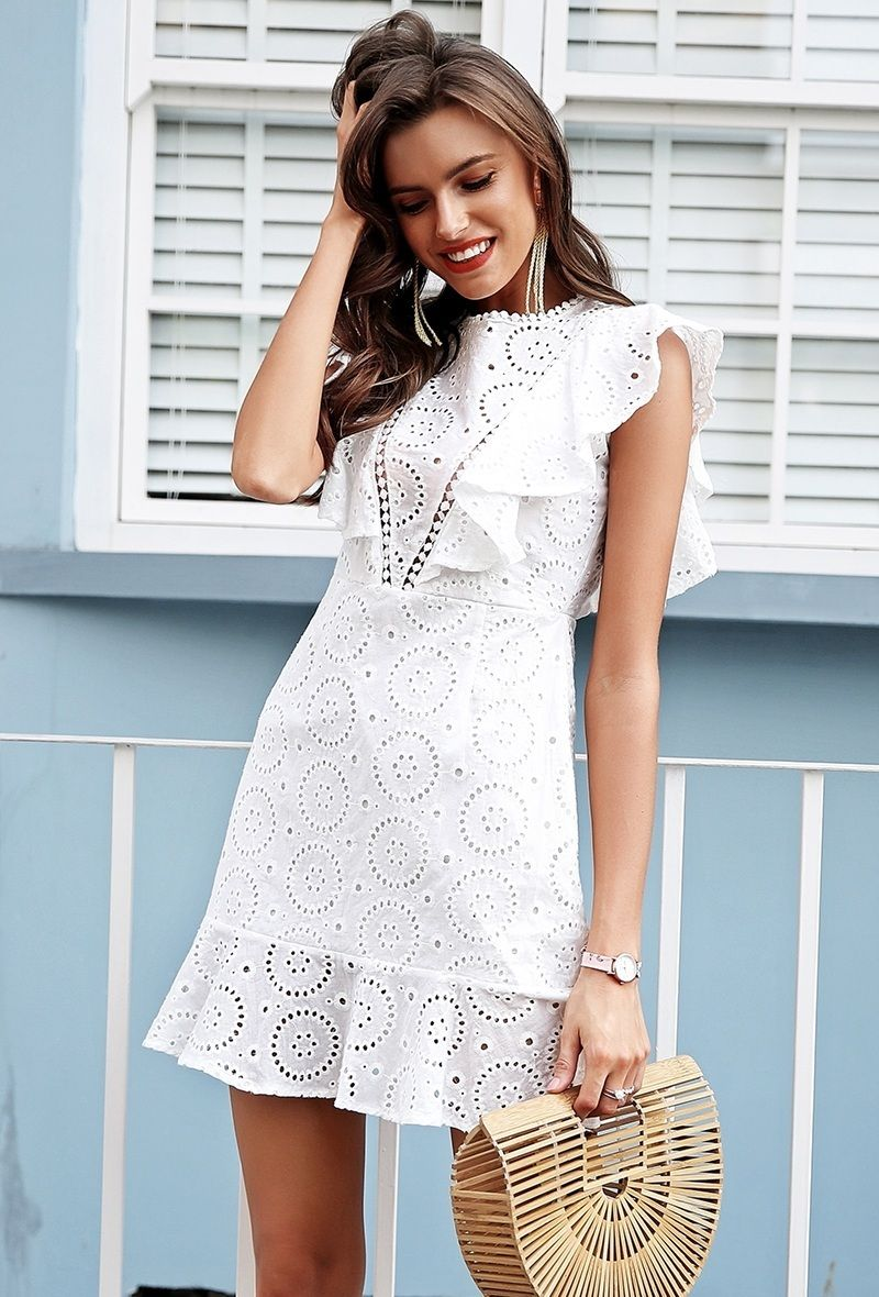 774b97d76b99 CLICK   BUY  ) Casual white lace mini everyday ruffle summer dress cotton  bohemian party boho summer white dress outfit white lace dress outfit summer  party ...