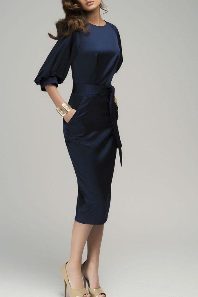 06eb7b8510 Navy Blue Puff Sleeve Belt Knee-Length Chiffon Pencil Dress ...