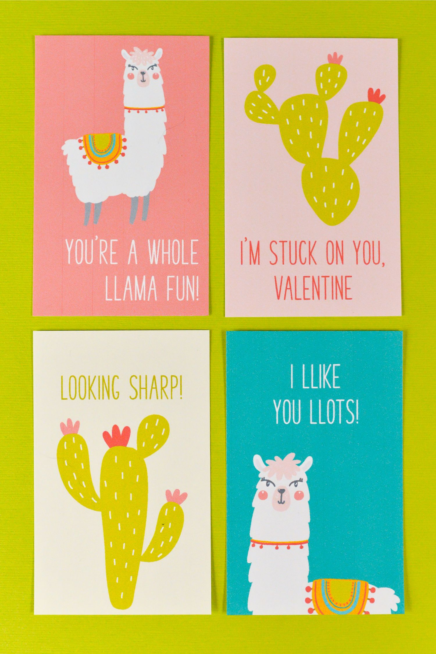 Print These Four Too Cute Cactus And Llama Valentines With This Free Download An Adorable Printable Valentine For Friends And Classmates Who Wouldn T Want To G Funny Printable Birthday Cards Birthday Card Printable