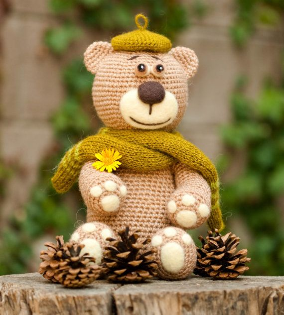 Beige Bear In The Pine Cones