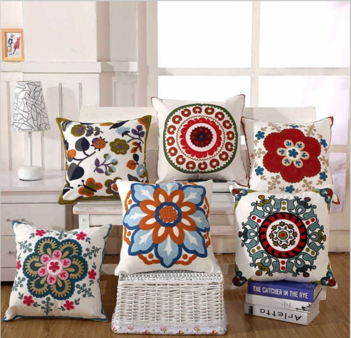 Boho turkish retro hippy indian art embroidered floral pillow