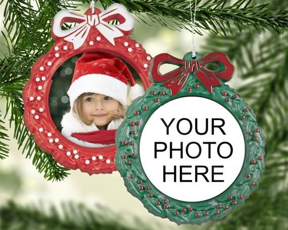 Your design here - plastic wreath photo ornament  in red or green perfect for first Christmas, photos, family portraits