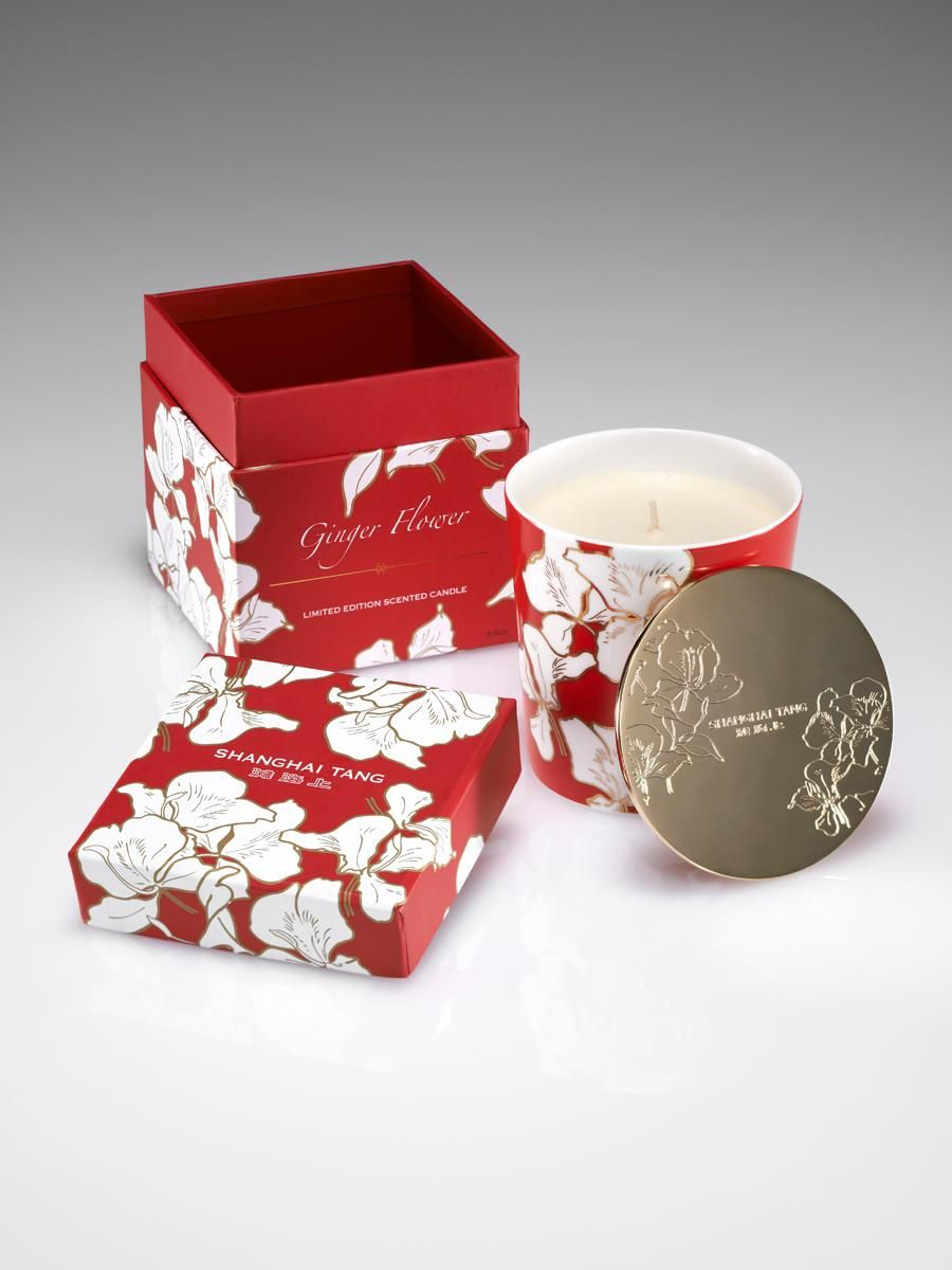 Ginger Flower Bone China Candle With Lid Ginger Flower Shanghai Tang Candles