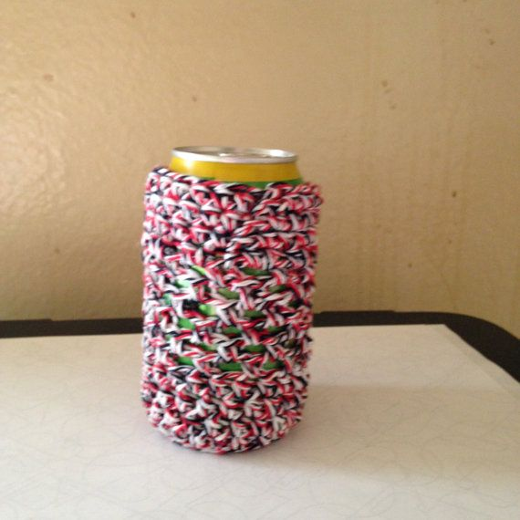 Crochet Beer Can Cozy/Beverage Cozy/Soda Can Cozy/Red White & Blue ...