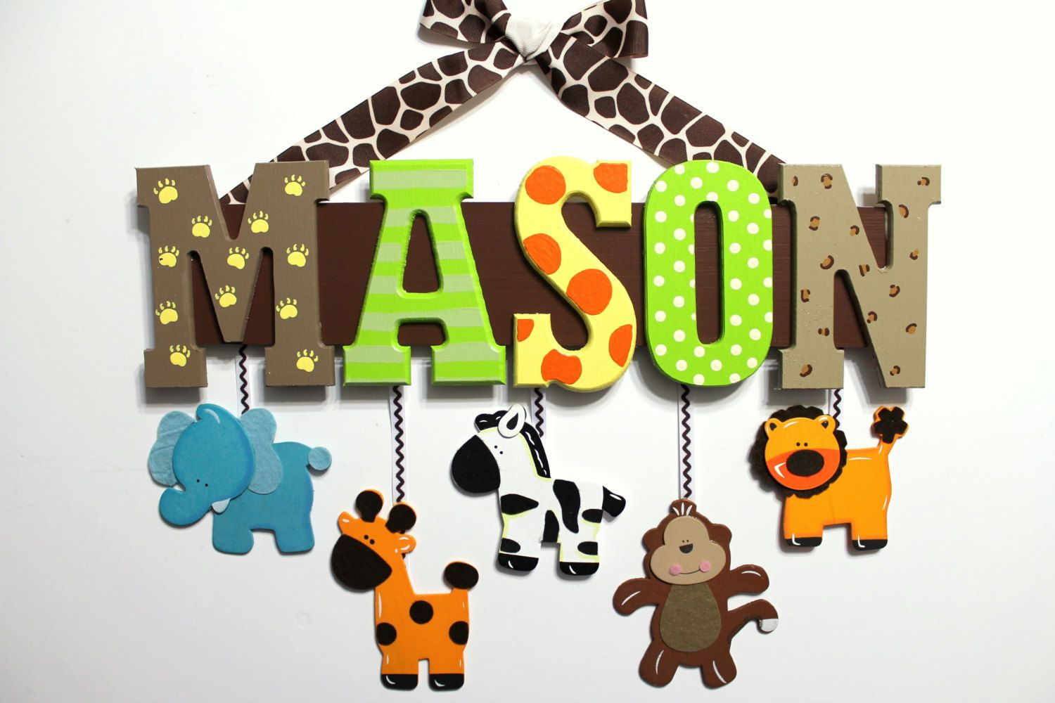 Jungle Animal Baby Name Sign Hand Painted By