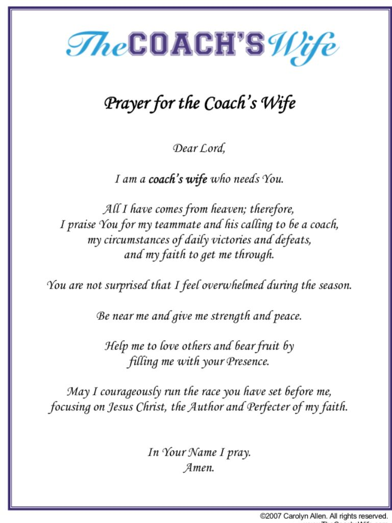 Prayer For CoachS Wife  Caring    Football Wives