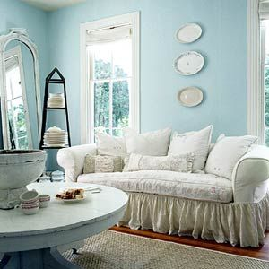 Amazing Robinu0027s Egg Blue Walls, Shabby Chic Style, Vintage Mirror, Plates On Wall Pictures