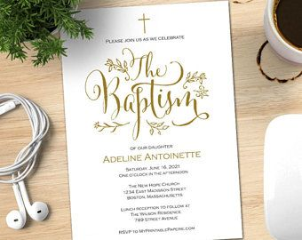 Baptism Invitation Template Boy Girl Instant Download Printable