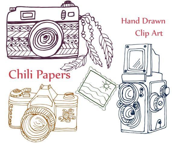 Doodle Camera Clip Art Camera Clipart Abr Brushes Etsy In 2021 Camera Clip Art Clip Art Clip Art Borders