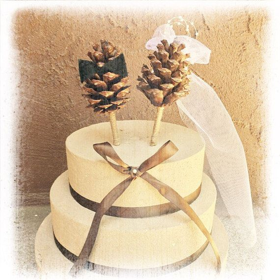 Pine Cone Wedding Cake Topper - Winter Wedding Cake Topper - Rustic ...