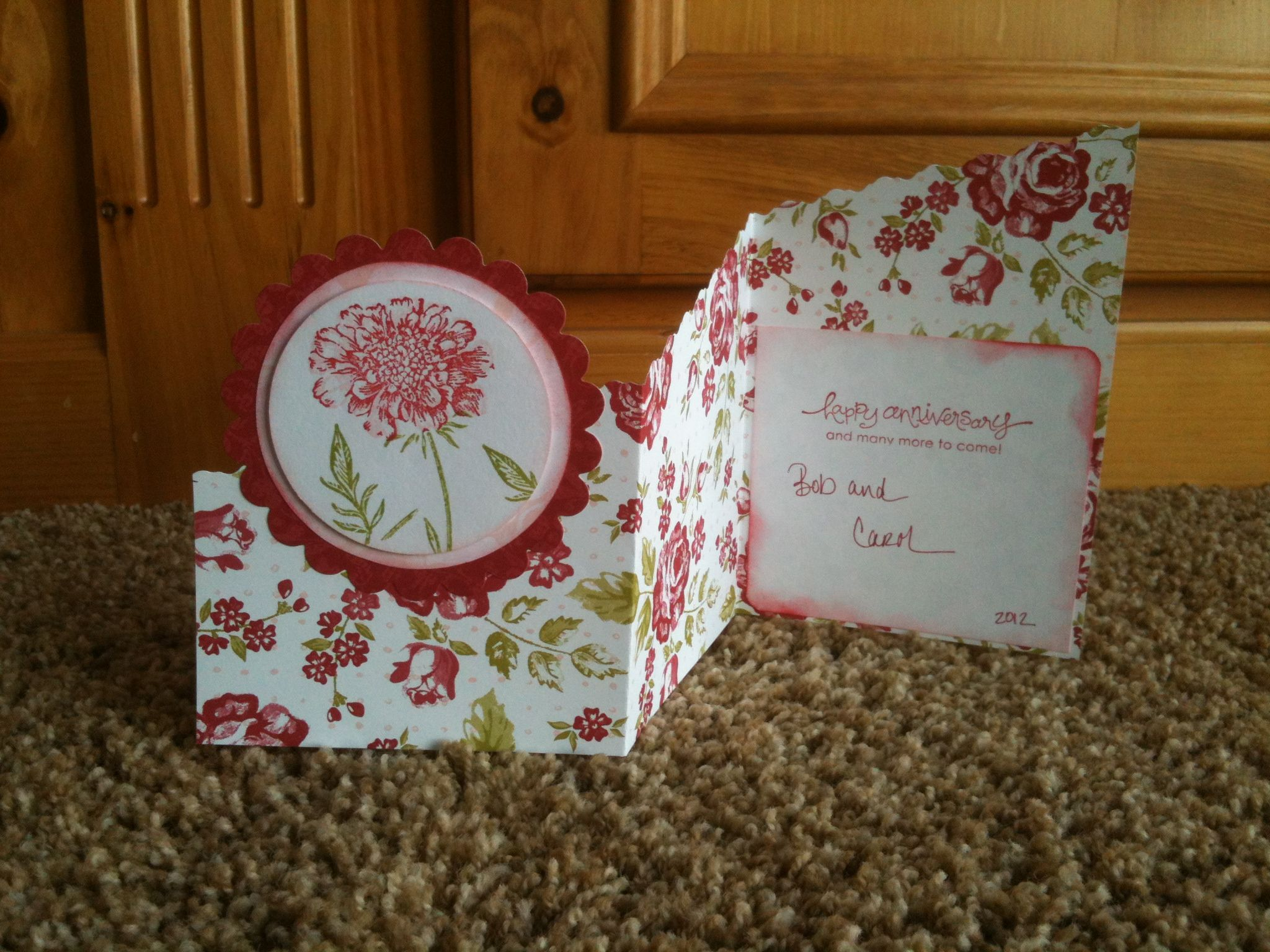 Here's the anniversary card opened up!  Really liked the way this came out  :-)
