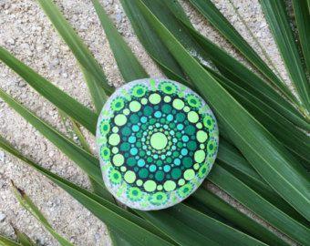 Shades of Green Dot Painted Stone, Original Hand Painted Rock Art, Mandala Stone, Nature Art
