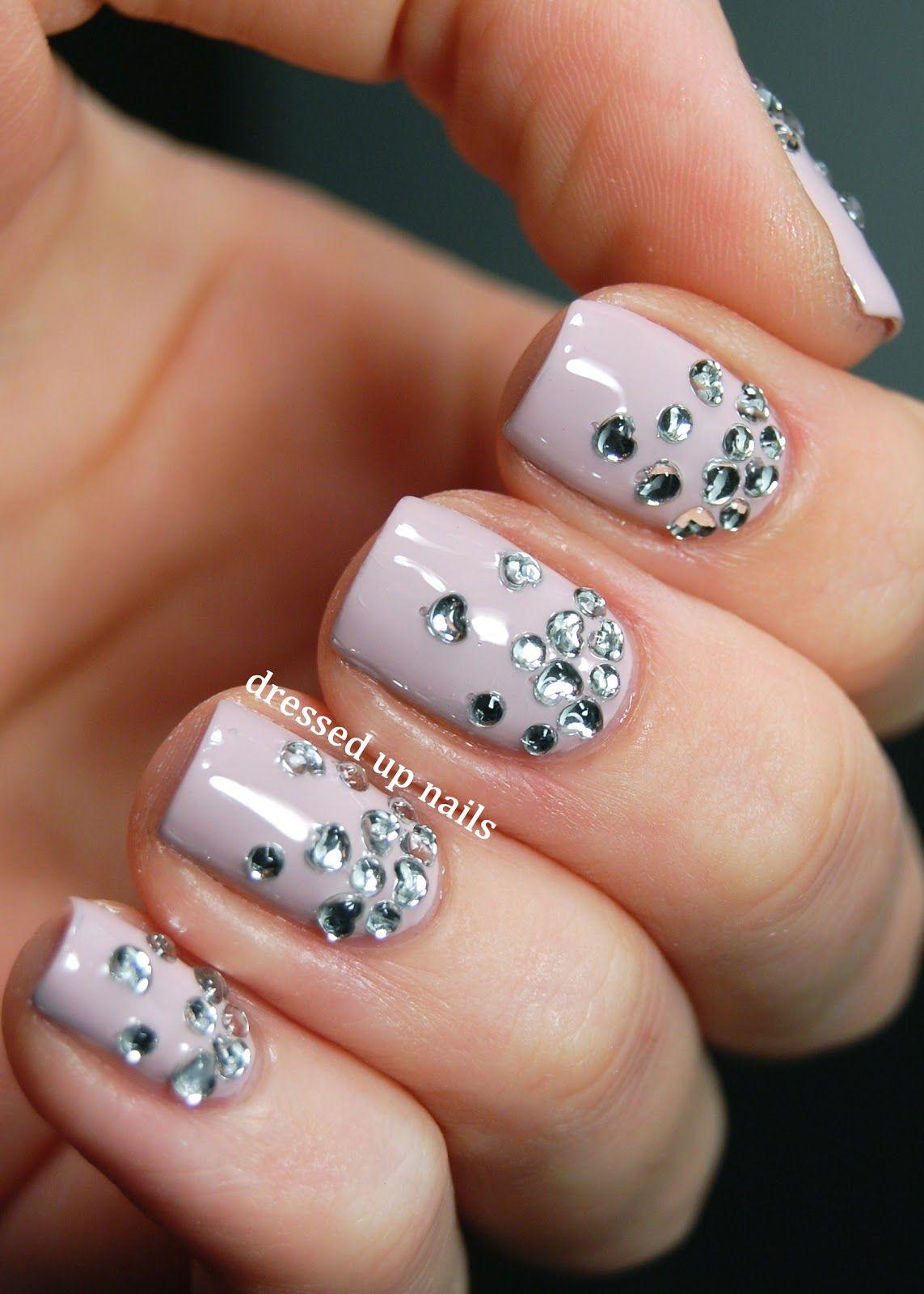 Dressed Up Nails - heart rhinestone gradient nail art   naglar ...