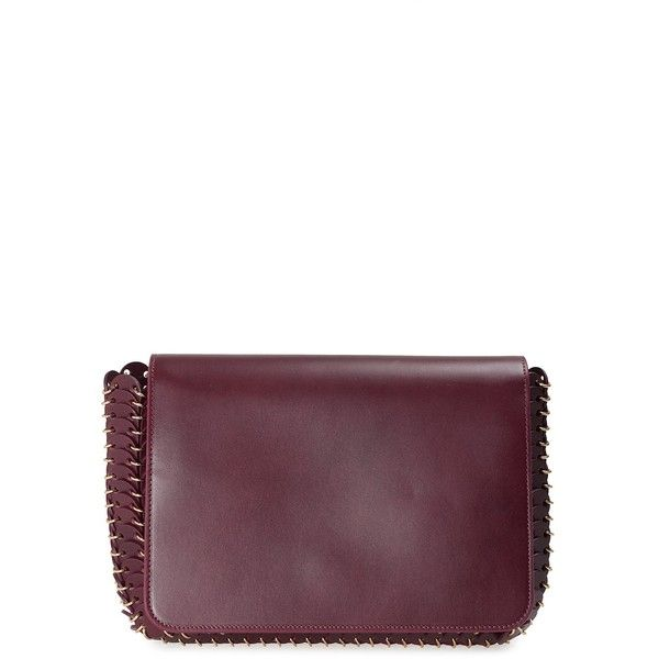 Paco Rabanne 14#01 Leather Small Shoulder Bag (£1,100) ❤ liked on Polyvore featuring bags, handbags, shoulder bags, bordeaux, shoulder bag purse, leather shoulder handbags, white leather shoulder bag, real leather handbags and leather flap handbags