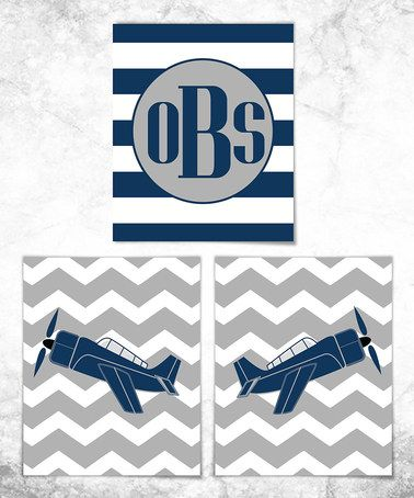 Another great find on #zulily! Plane Monogram Print Set #zulilyfinds