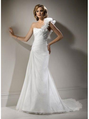 A-ligne une épaule robe de mariage en organza