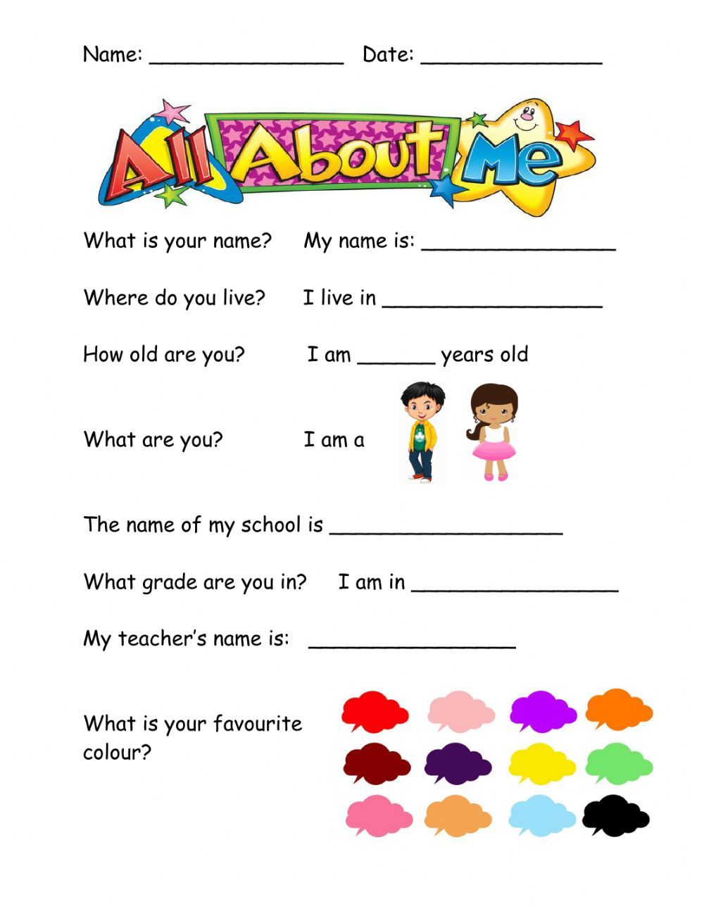 Myself interactive activity for pre school-grade1. You can do the exercises  onli…   Learning english for kids [ 1291 x 1000 Pixel ]