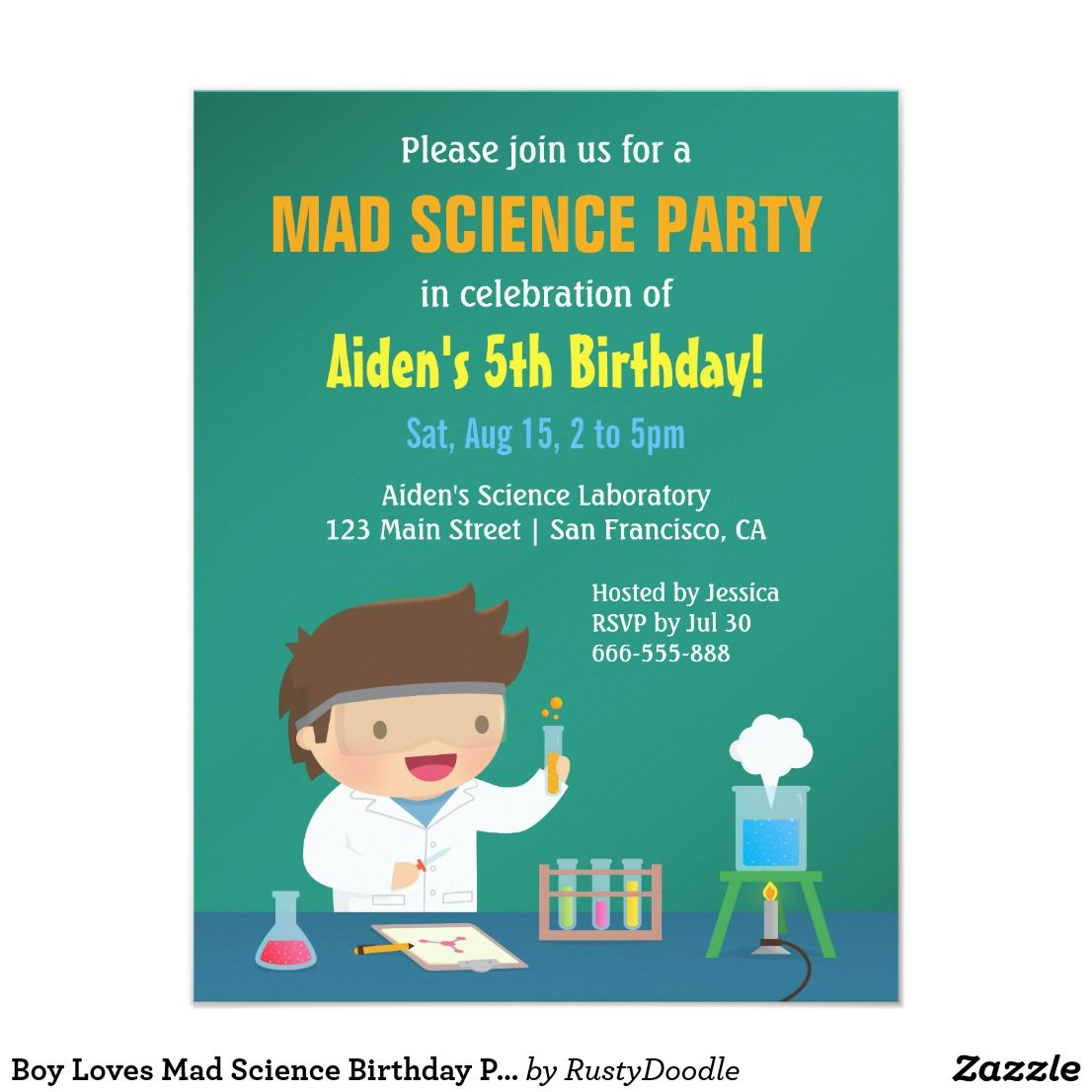 Boy Loves Mad Science Birthday Party Invitations   Mad science ...