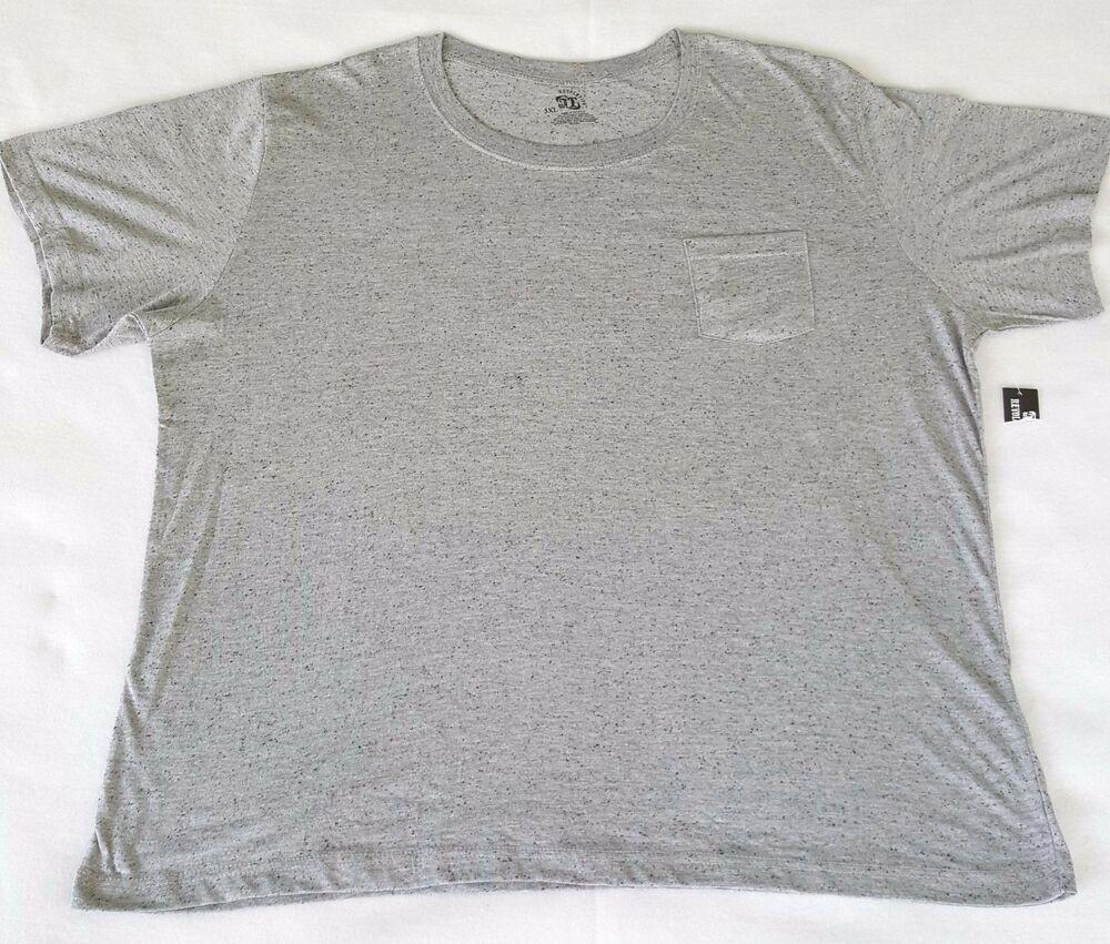 Gray short sleeve crew neck tee shirt pocket mens size 3x