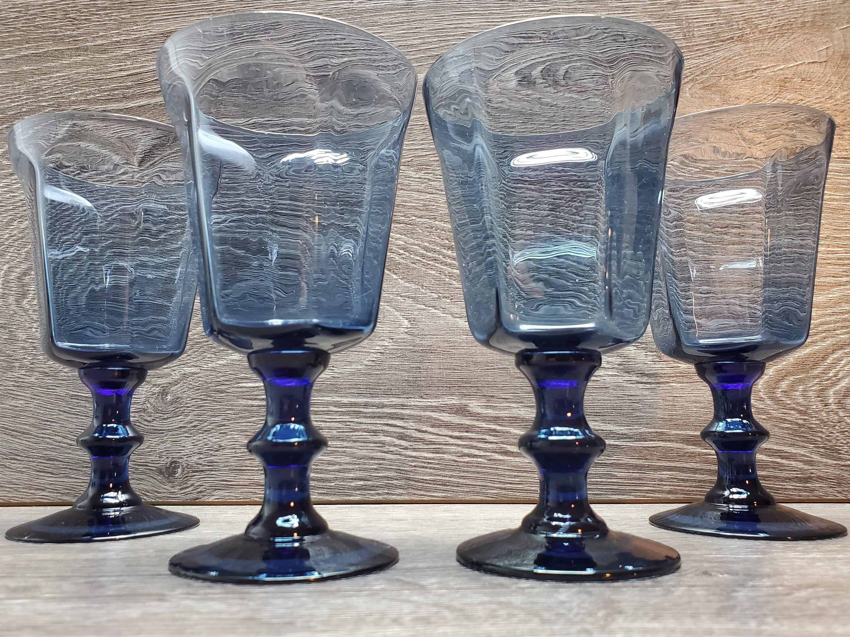 Set of 4/Vintage Lenox Antique Dark Blue Water Goblets