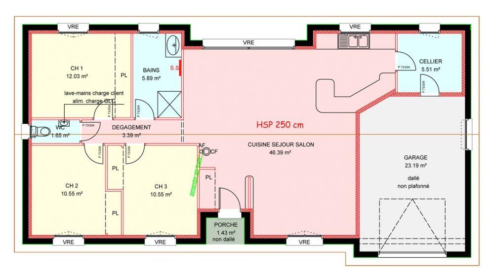 Maisons Plain Pied 3 Chambres De 93 M Construite Par Demeures Familiales Maison Plain Pied Plan Maison 100m2 Plan Maison 90m2