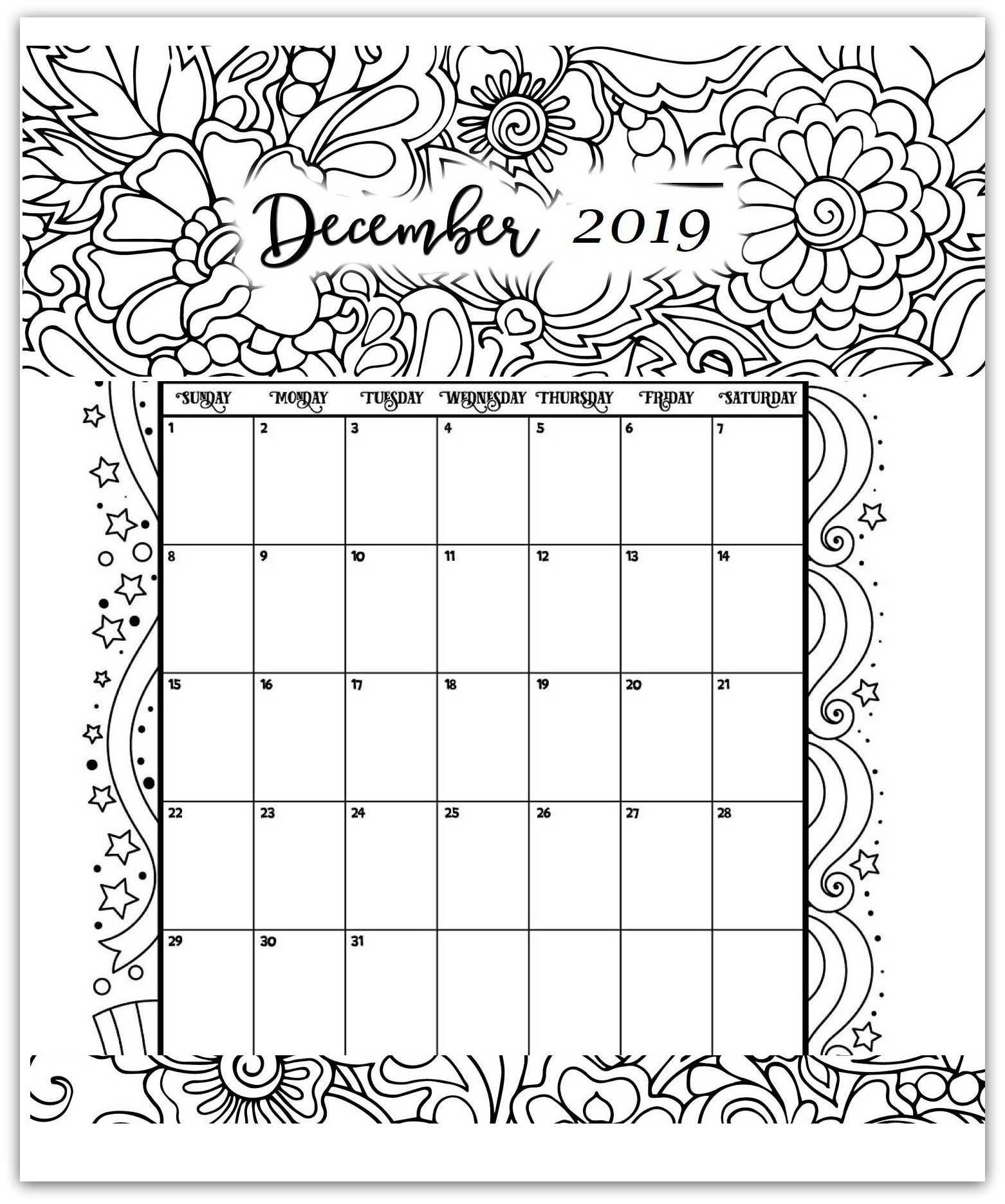 december 2019 coloring page printable