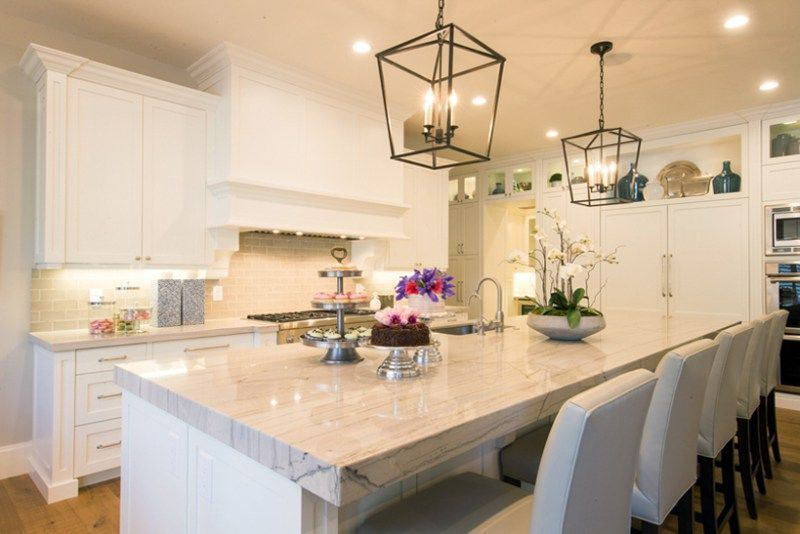 Lantern Pendant Lights For Kitchen Adorable Wite Kitchen With White Bar Stools And Lantern Pendant Lights Design Ideas