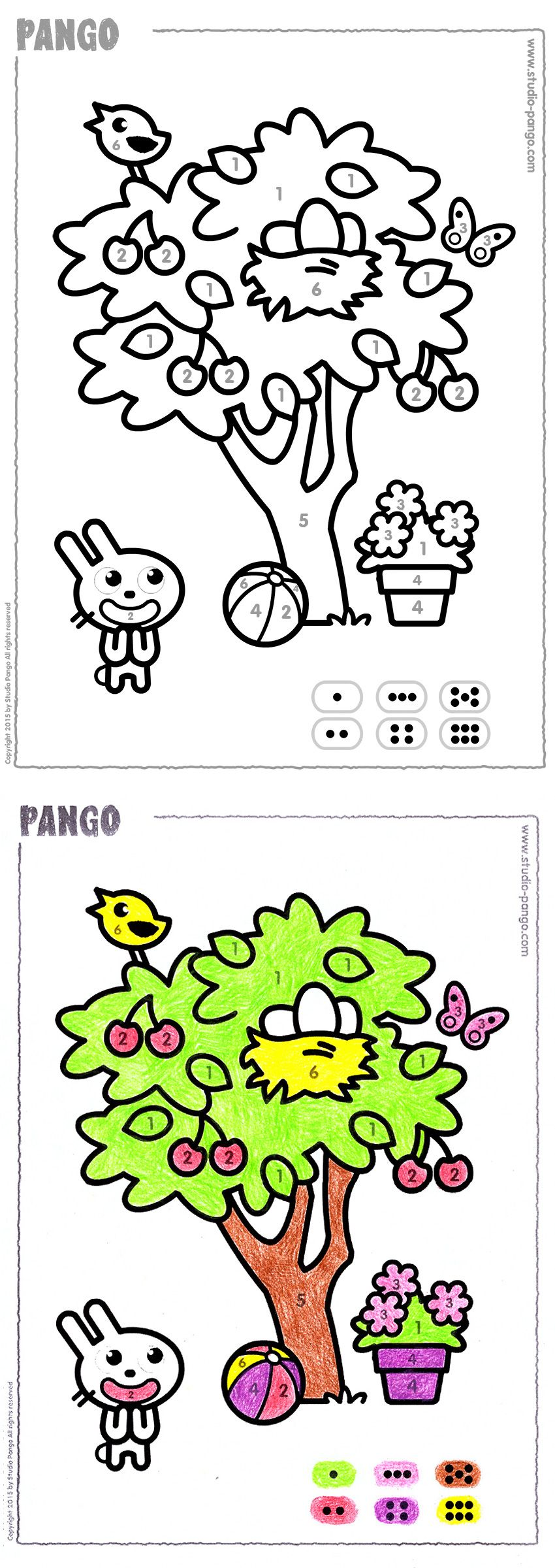 Spring time ! A spring tree to color by numbers. #coloring #counting ...
