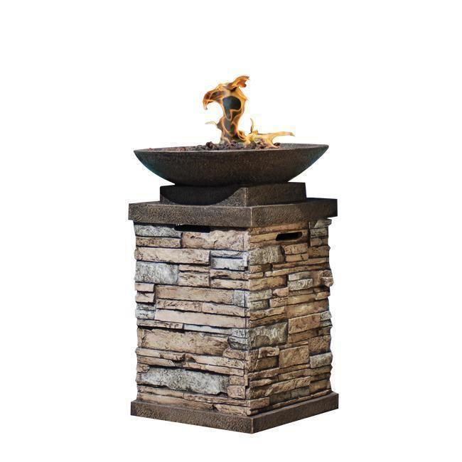 Gas Fire Bowl Driveway Stone Pillar Patio Furniture Fireplace Heater Faux Rock Fire Bowls Outdoor Outdoor Fire Pit