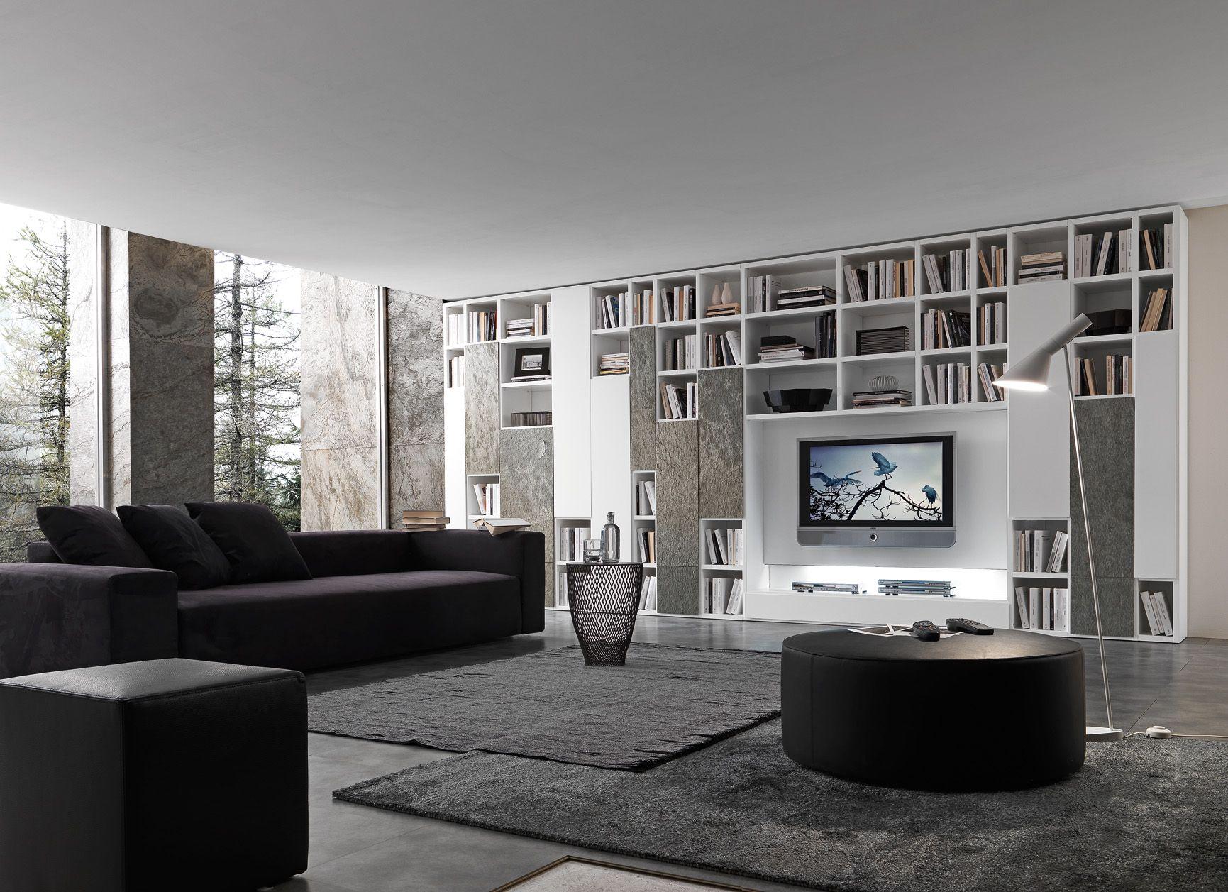 Zalf Industria Mobili Componibili Spa.Bookcase With Matt Bianco Candido Lacquered Structure 6 Mm Thick