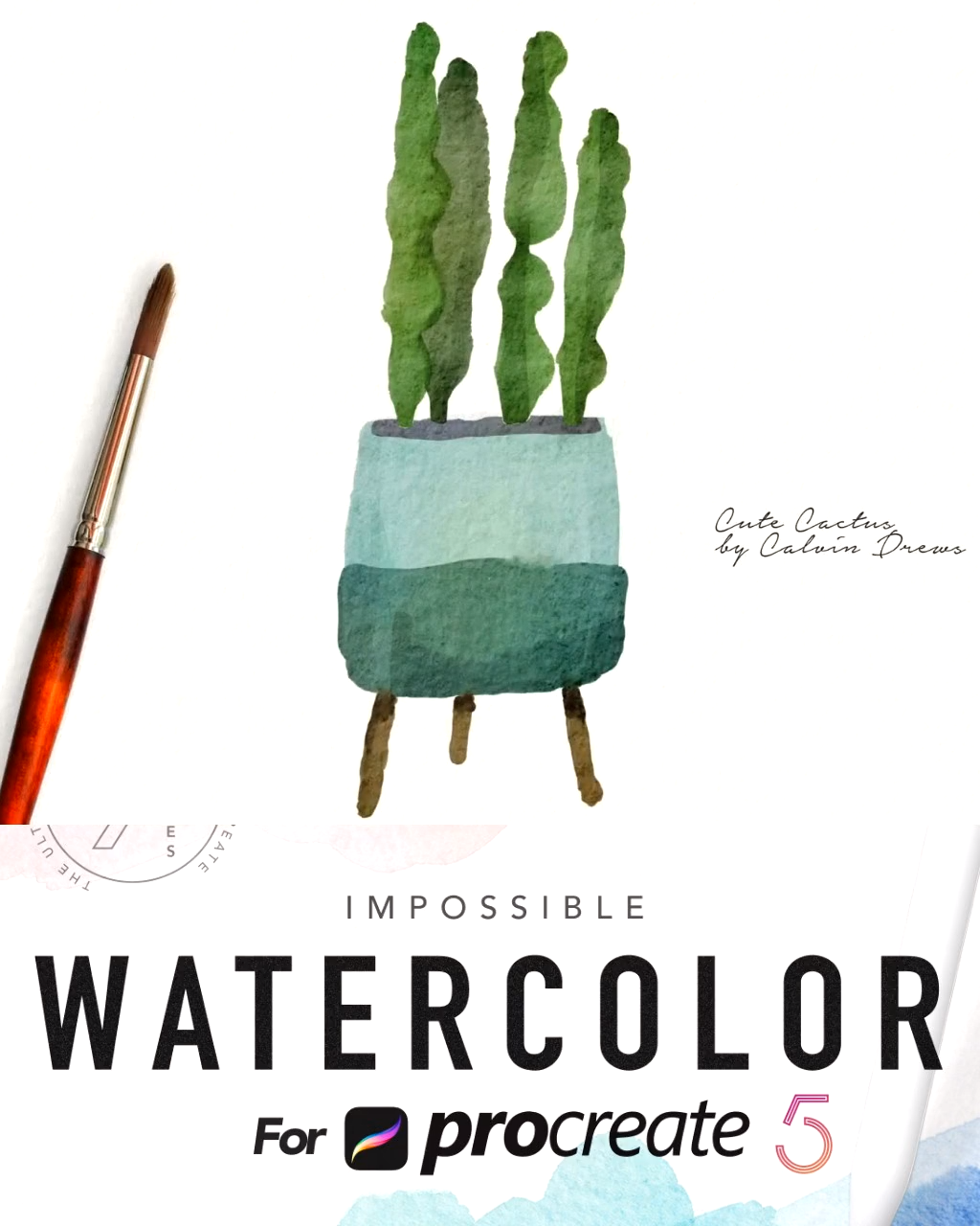 Painting a cute cactus in Procreate(watercolor kit)