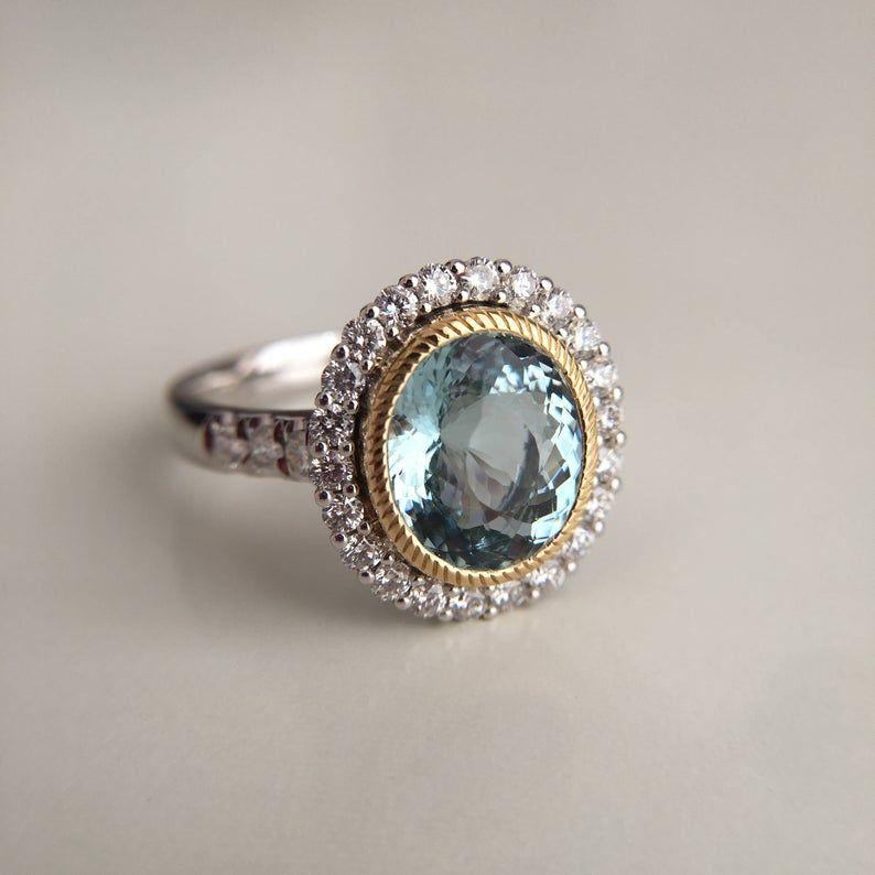 3 Carat Aquamarine Engagement Ring Blue Stone Ring White Gold Etsy In 2020 Blue Engagement Ring Engagement Ring Blue Stone Aquamarine Engagement Ring