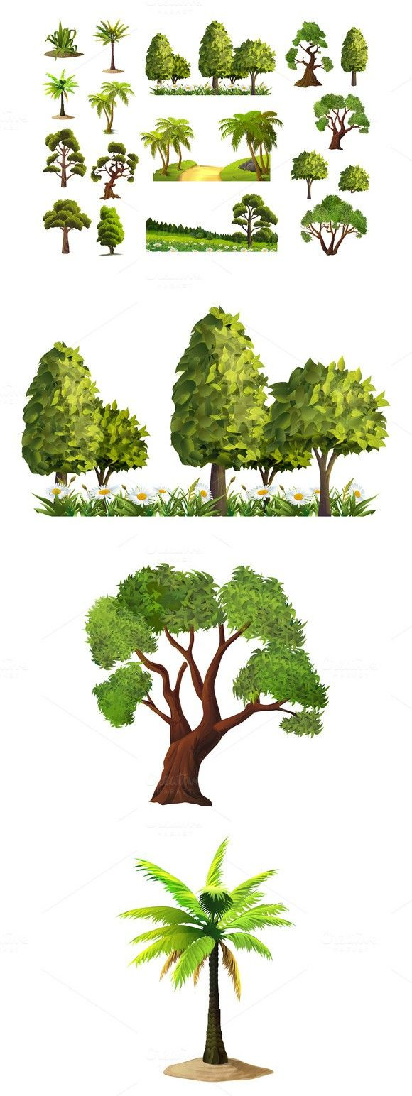 Trees, nature, forest, vector set imagens)
