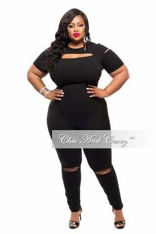 New Plus Size Jumpsuit with Knee and Top Slits in Black