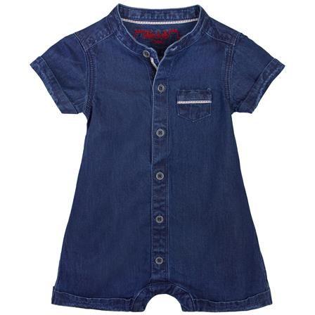 Chateau De Sable Navy Blue Baby Boy Mao Collar Romper, 3-6 Months