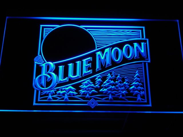 A167 Blue Moon Beer Bar Pub Neon LED Segno con On/Off Interruttore 7 Colori per scegliere