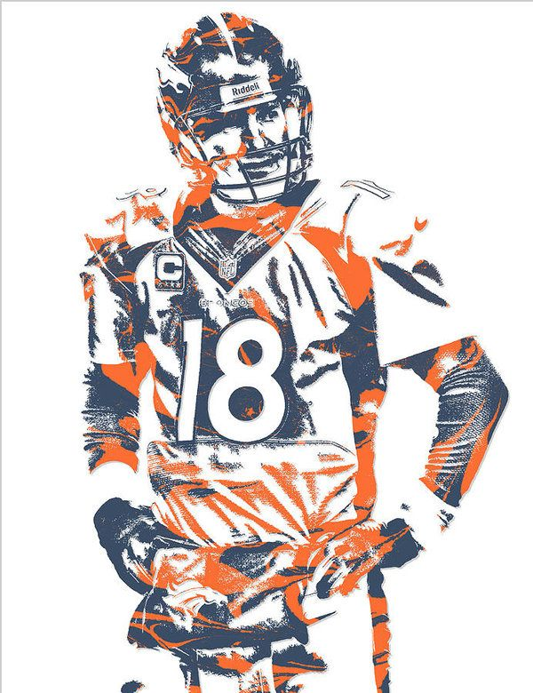 Denver Broncos Peyton Manning Portrait Sports Print Art 11x17