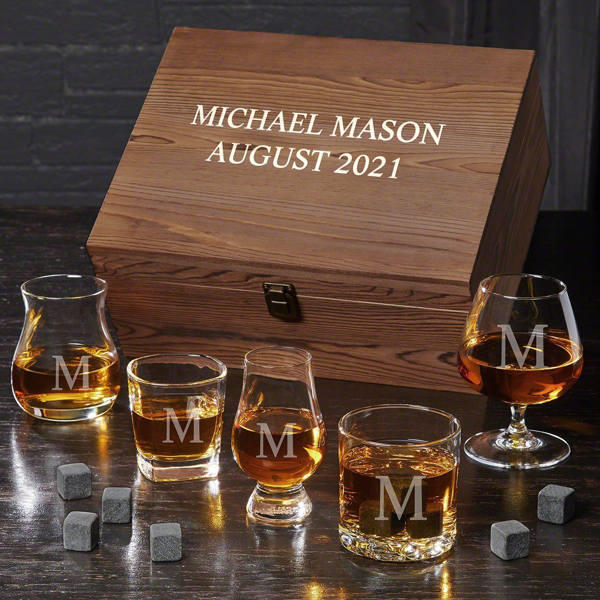 Personalized Ultimate Whiskey Glass Gift Set with Whiskey