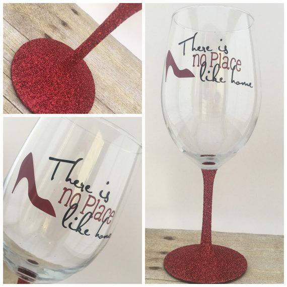 Custom Wizard Of Oz Inspired Red Glitter Stem Wine Glass Gift Christmas Wine Glasses Hand Painted Painted Wine Glasses Christmas Wine Glass Crafts