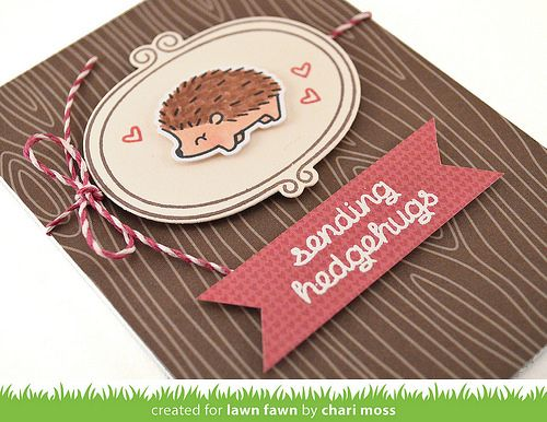 Lawn Fawn August Inspiration Week: Sweater Weather Stamps Woodgrain Notecards