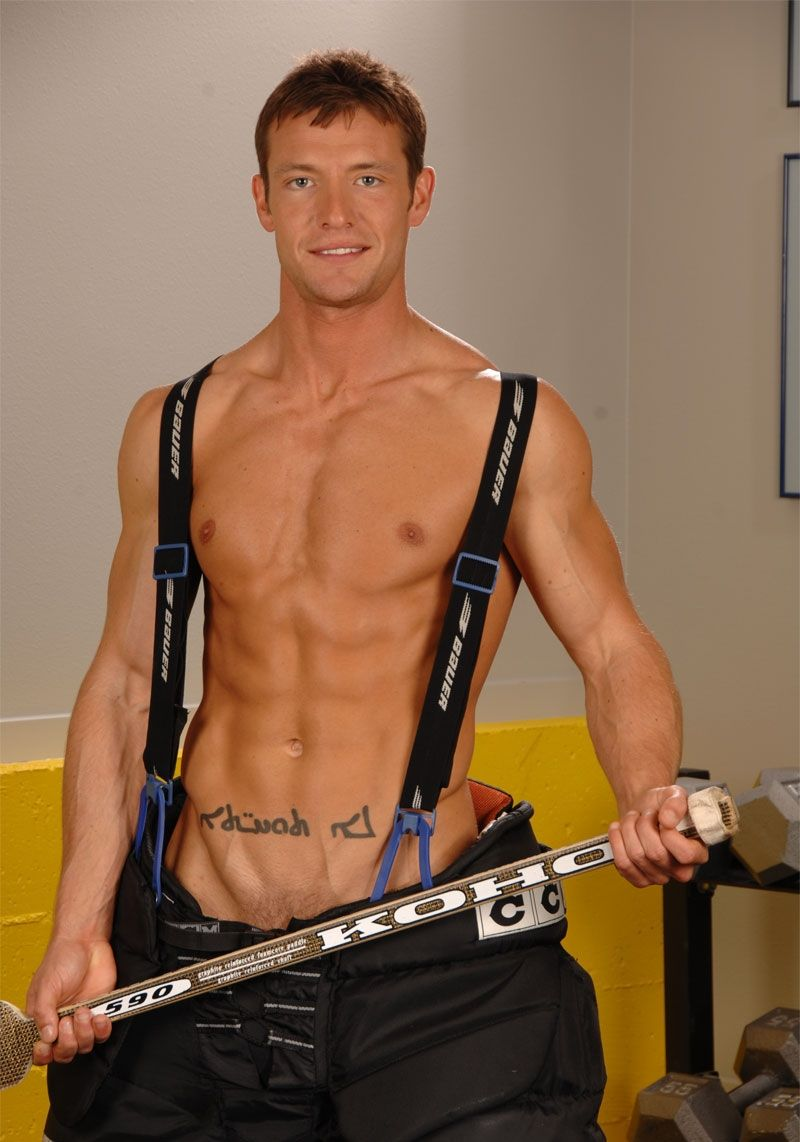 Kevin Crows Shirtless In Hockey Pants With 6 Pack Abs
