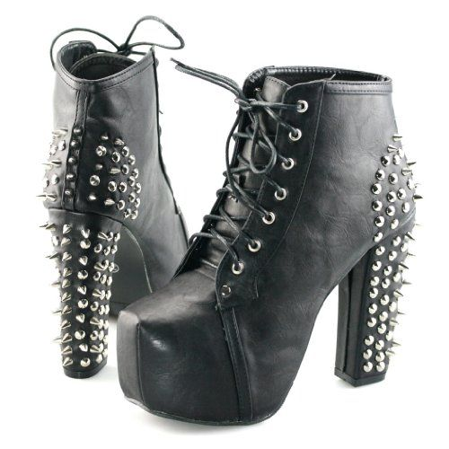 ce8db65af9f Womens spike stud lace up high block chunky heel platform shoes booties  boots  PlatformShoesForWomen