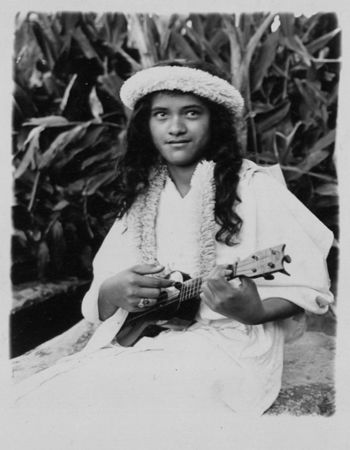Hawaiian girl with ukulele.