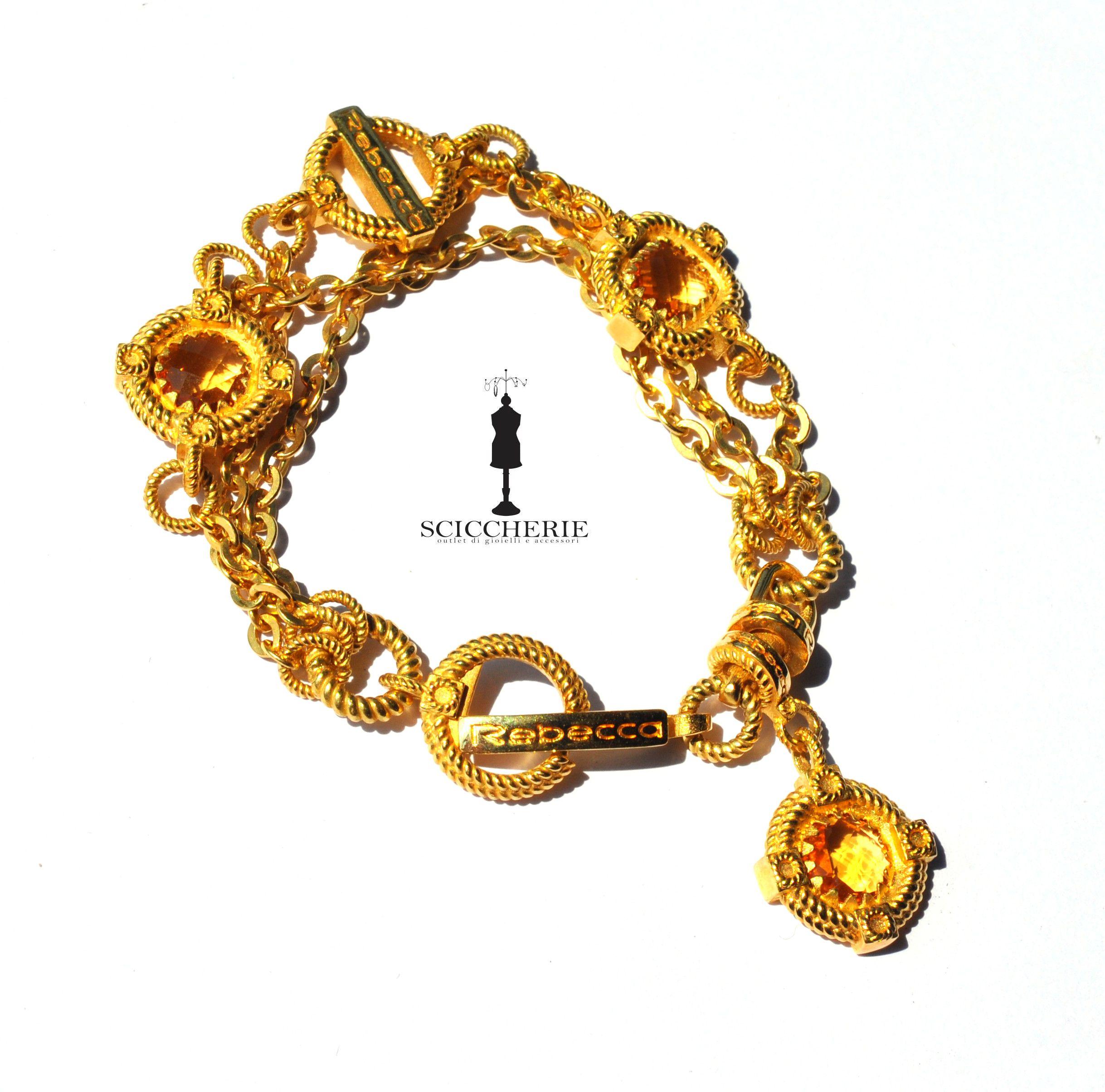 Bracciale bronzo in bagno d\'oro giallo con pietre idrotermali ...