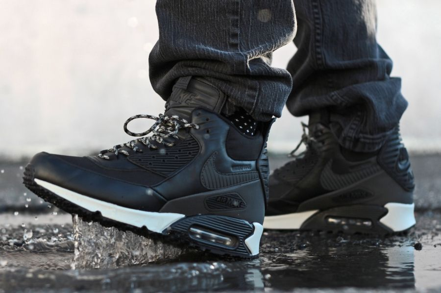 nike air max 90 sneaker boot black\/black\/magnet grey\/black hair