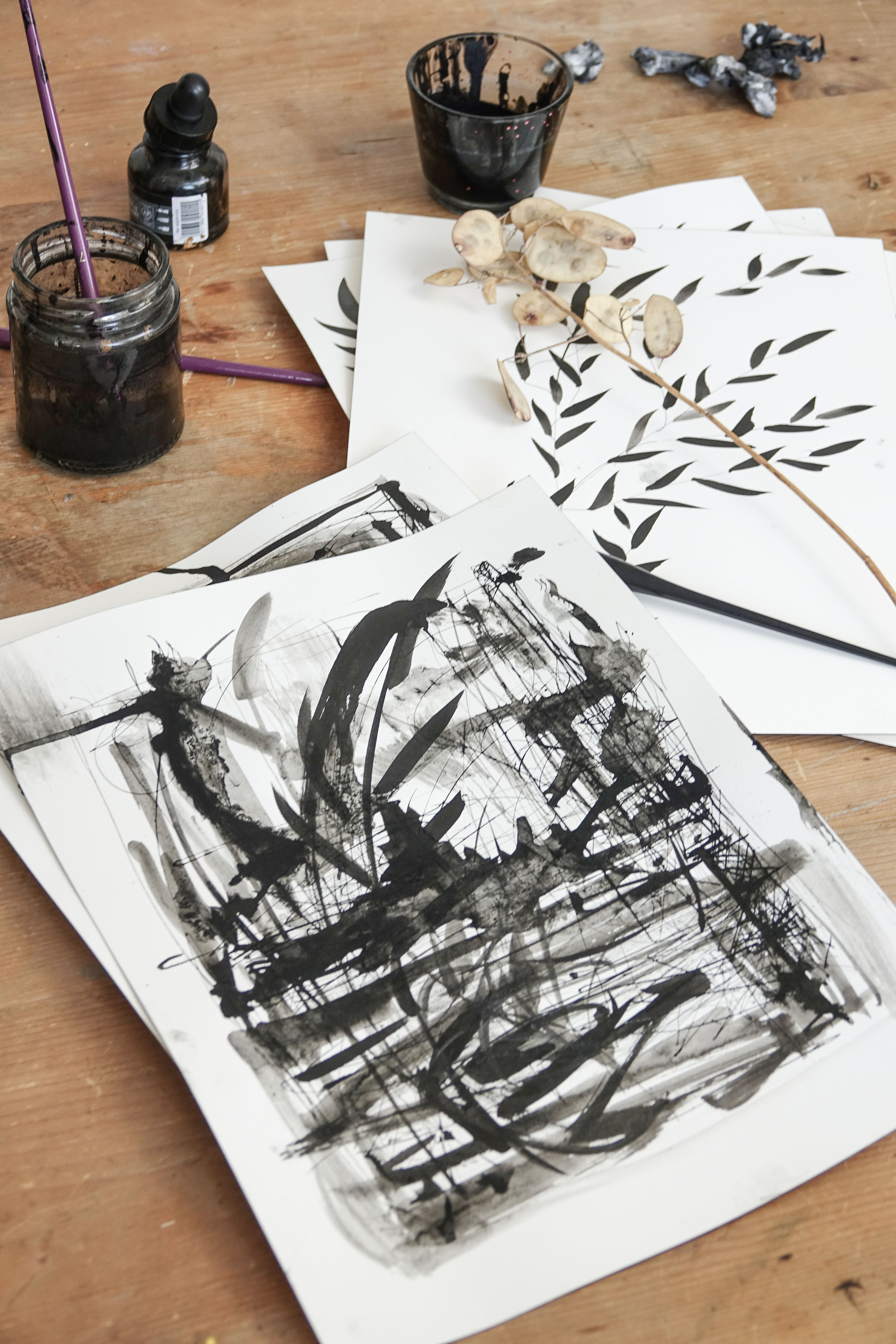 Ella Johnston Port Piece Ink On Hot Pressed Watercolour Paper
