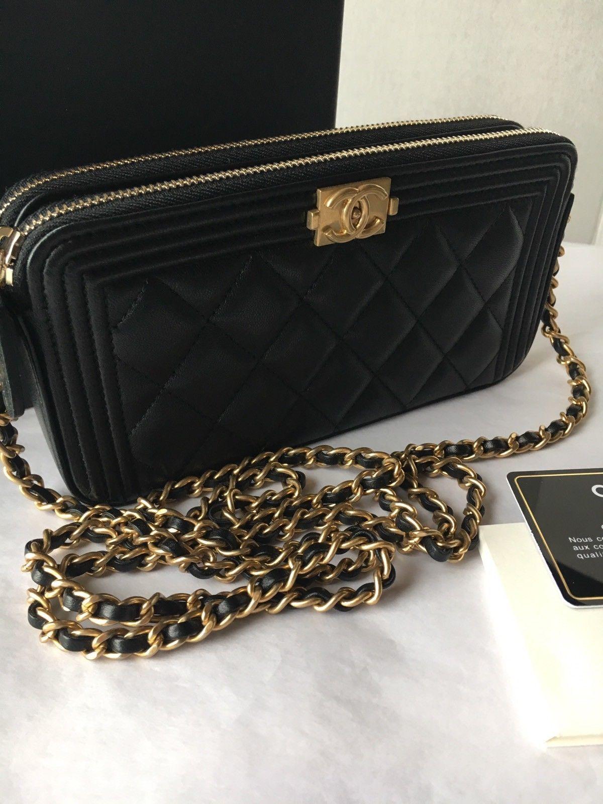 3bb91e82ce153f Auth BNIB Chanel Boy WOC Double Zip Black Lambskin Wallet On A Chain Bag  2017 $1950.0