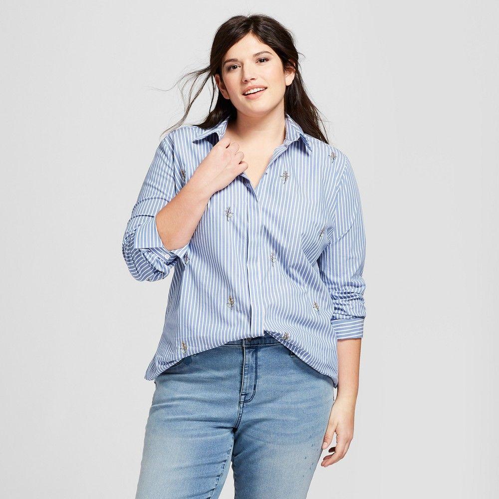 b836558055d Women s Plus Size Button-Down with Floral Embroidery Long Sleeve Blouse -  Ava   Viv Blue White Stripe 2X