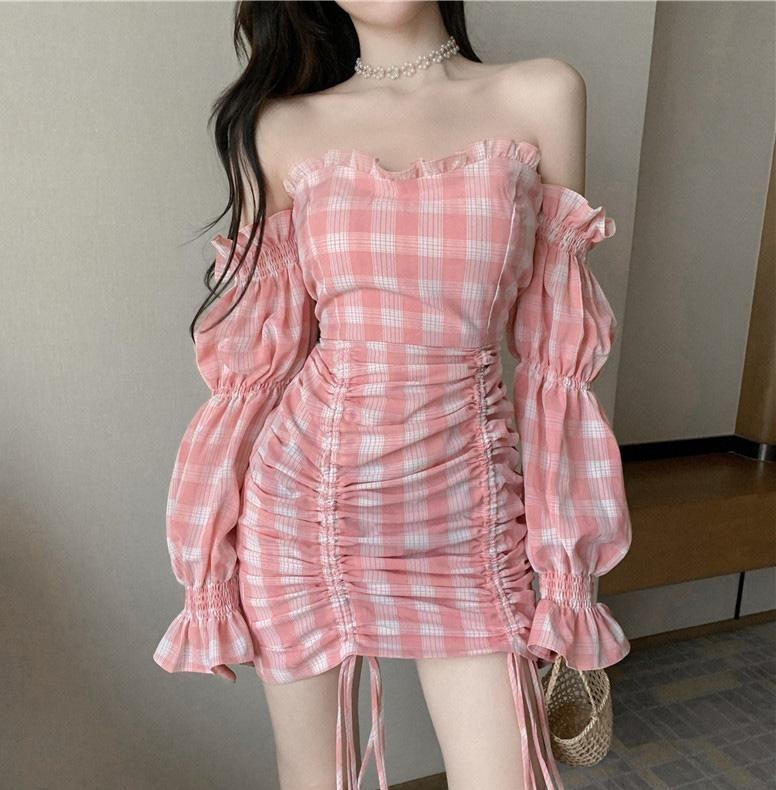 French Retro Plaid Pink Dress SD01577 - M